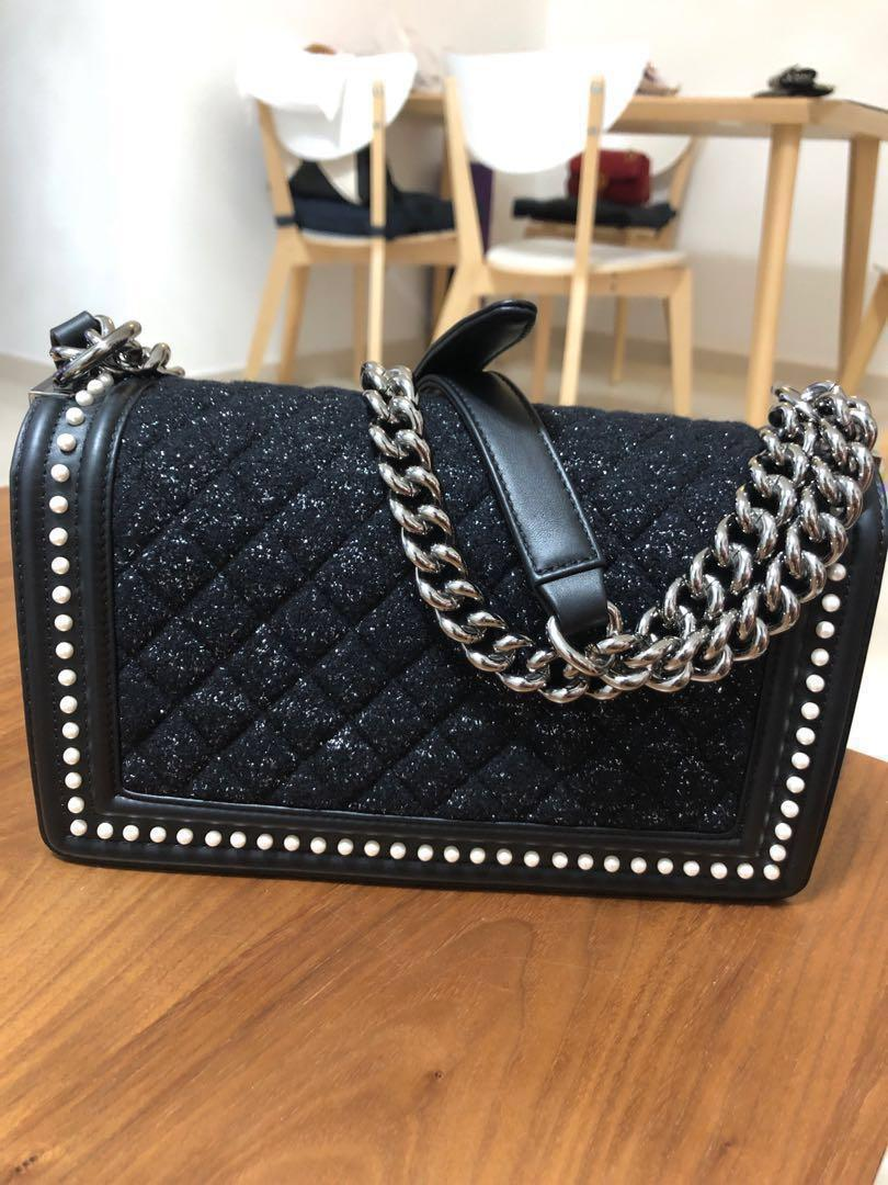 Chanel Leboy Le Boy Handbag Tweed Pearl Limited Design Edition Black Medium Size (Condition 9.9/10, purchased locally with receipt)