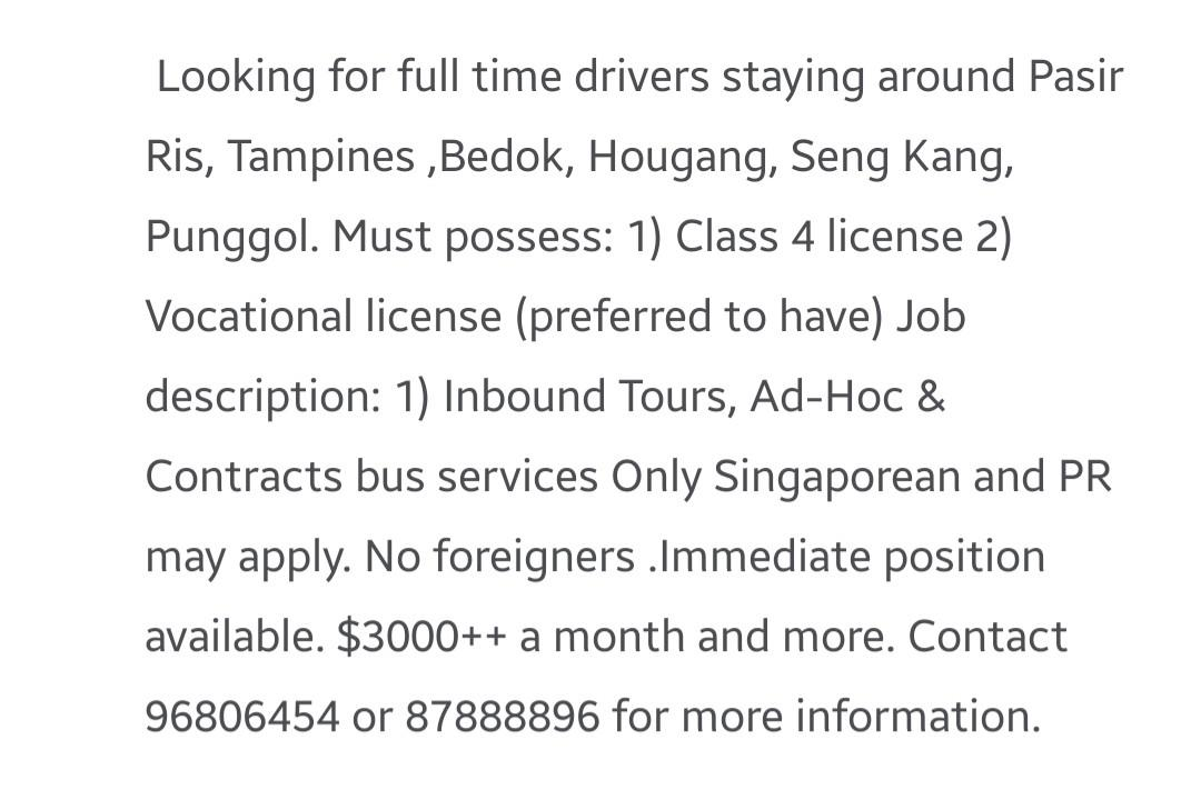 Class 4 Driver with Vocational Liscence