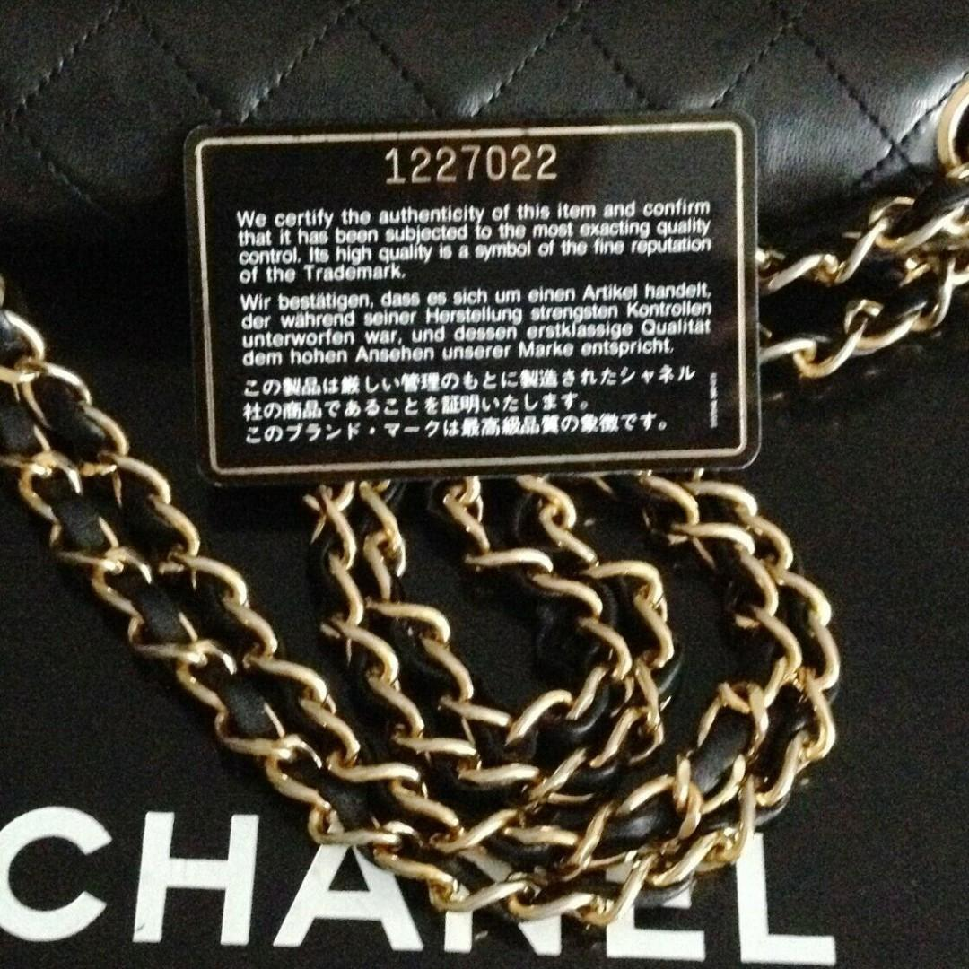 """FULL SET CLASSIC CHANEL Black Quilted 24k Gold Chain 9"""" Double Flap Bag"""