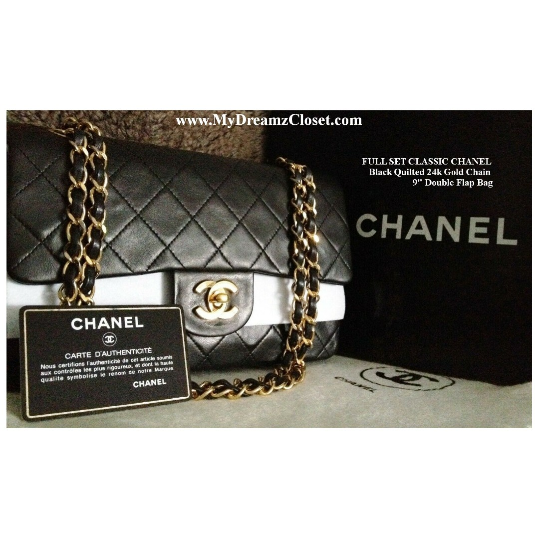 "FULL SET CLASSIC CHANEL Black Quilted 24k Gold Chain 9"" Double Flap Bag"