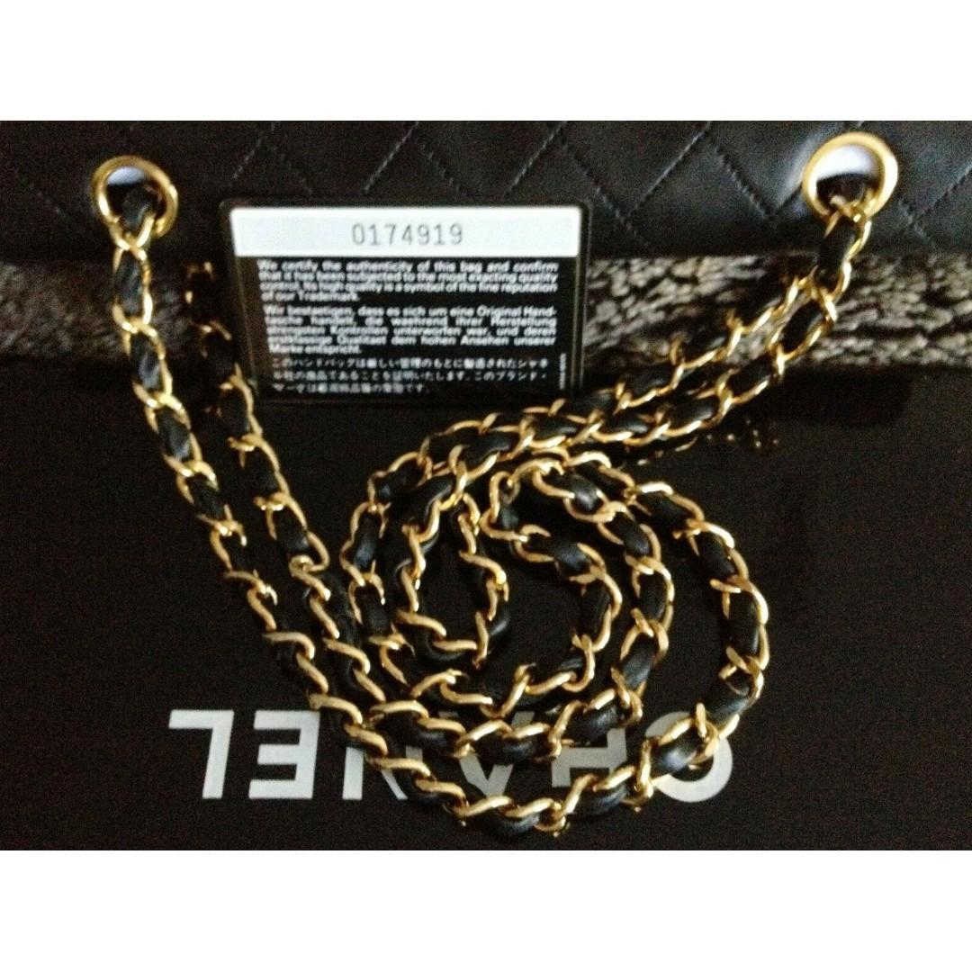 "FULL SET MINT CLASSIC CHANEL Black Quilted 24k Gold Chain Medium 10"" Flap Bag"