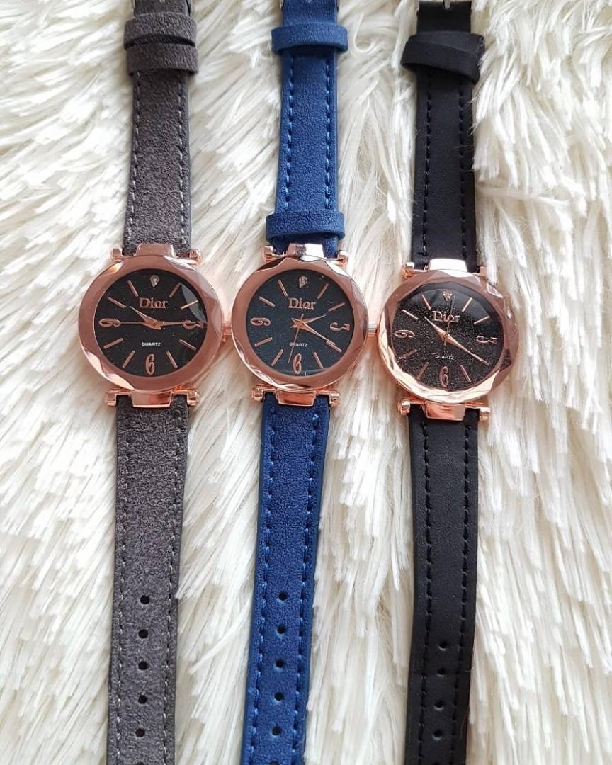 Jam tangan SALE !!! DIOR PRO KULIT  Kulit dior kulit asli kaca belimbing diameter 4cm