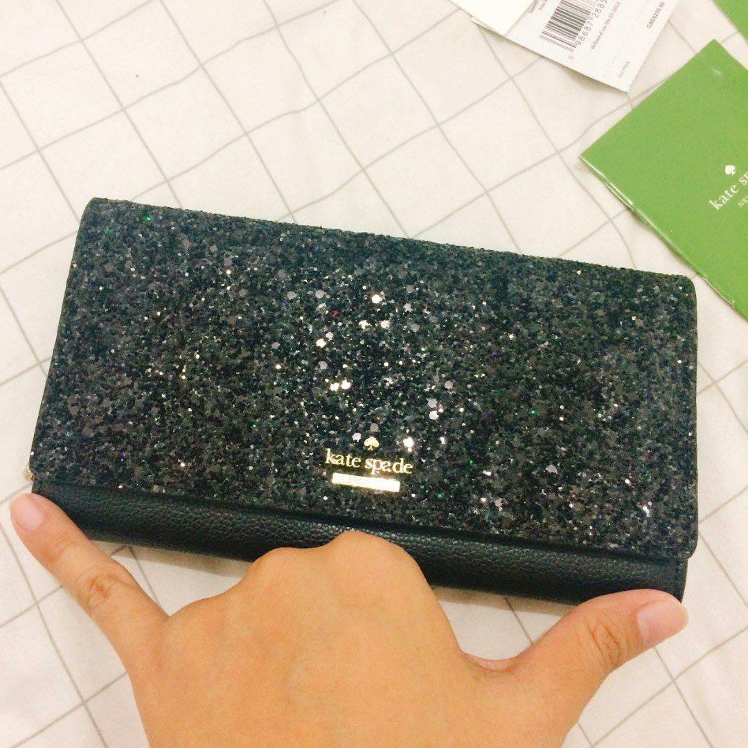 Kate Spade Wallet Clutch Milou Laurel Way Glitter Black 100% Authentic
