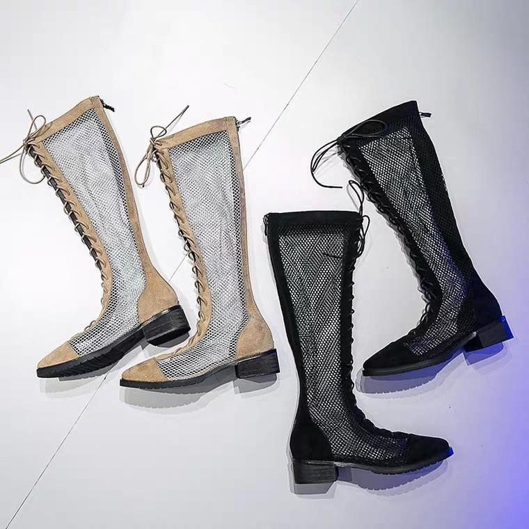 shoes long tube hollow skinny boots