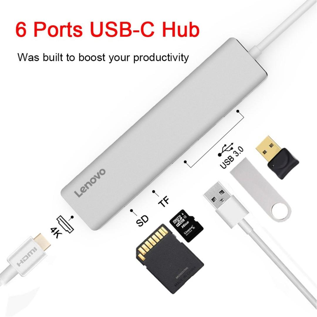 Lenovo USB-C Hub (C110) - Silver, Electronics, Computer