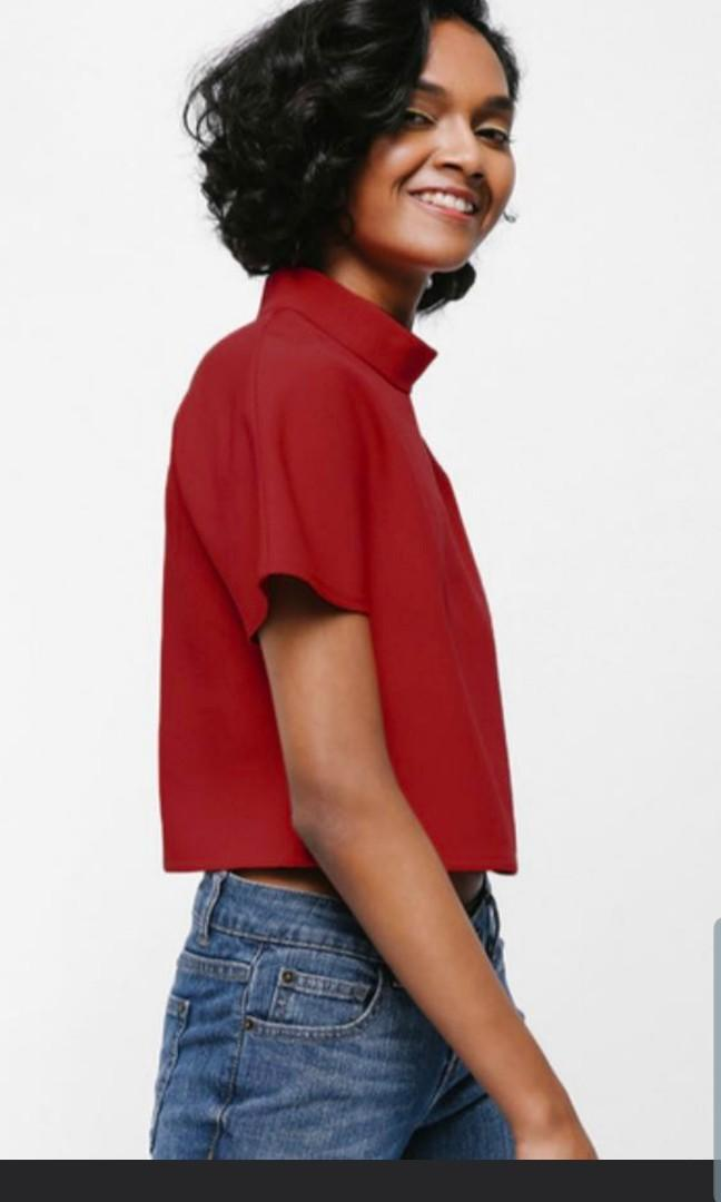 Love bonito mayda boxy high neck crop top in red
