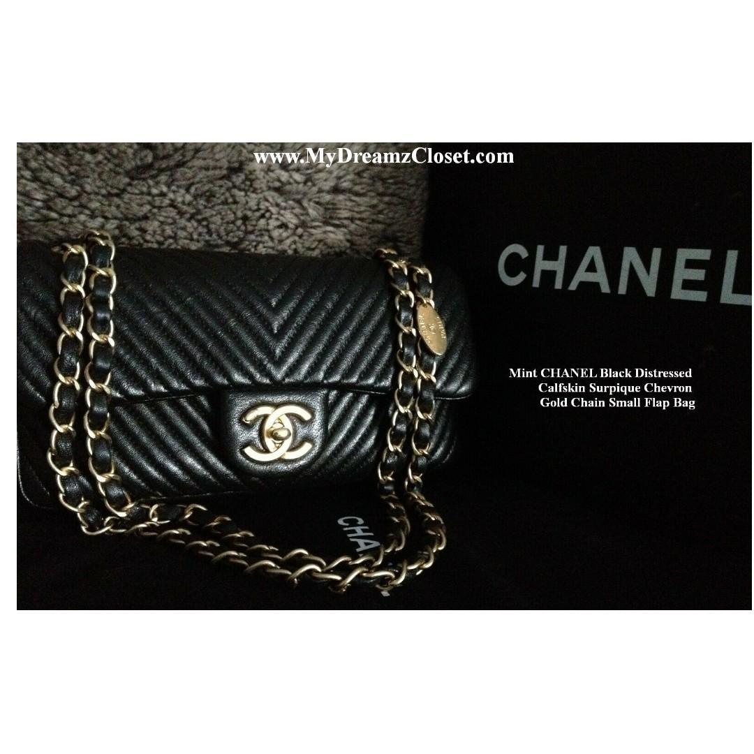 Mint CHANEL Black Distressed Calfskin Surpique Chevron Gold Chain Small Flap Bag
