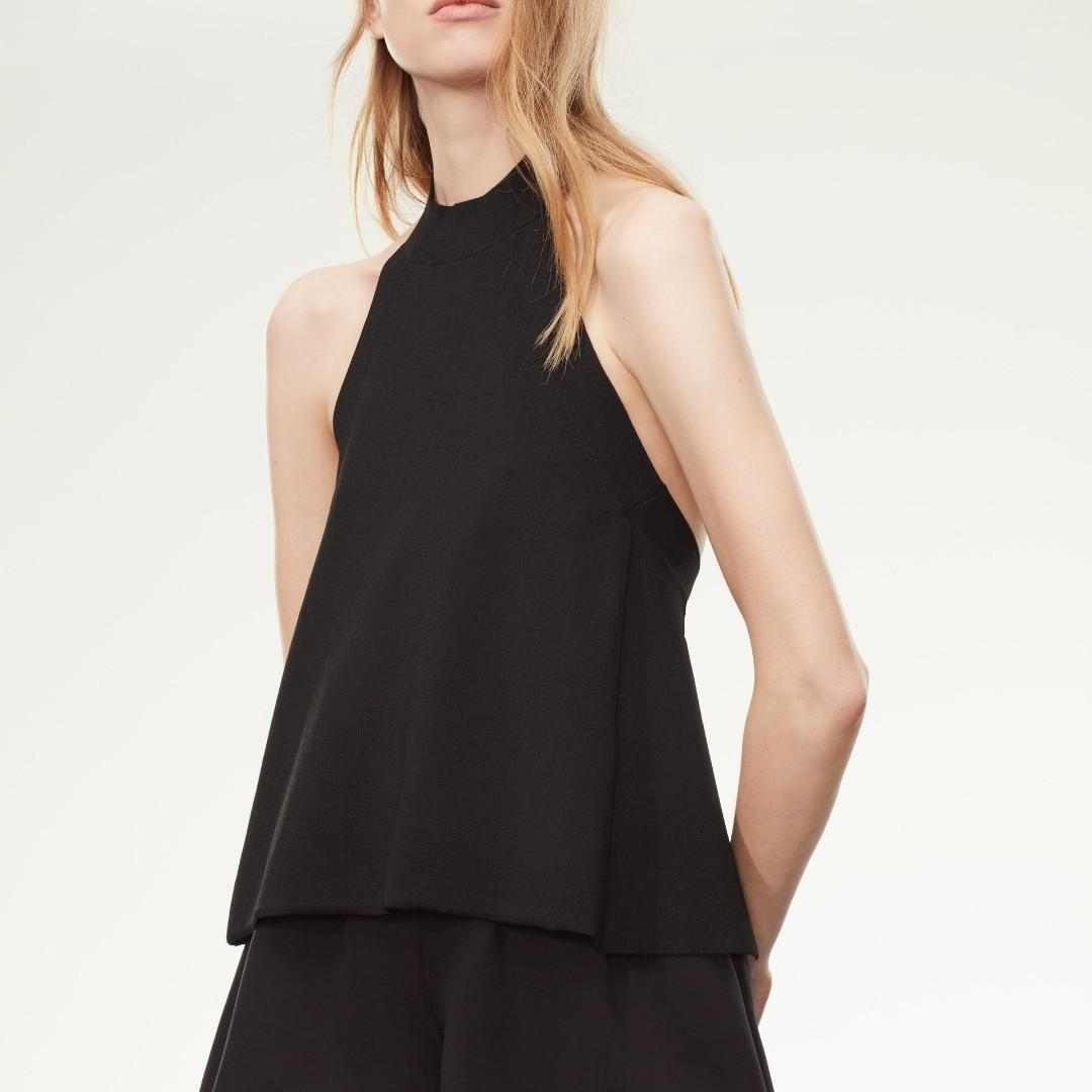 New Aritzia Wilfred Le Fou Amqui Halter Knit Top Open Back Black Size XS
