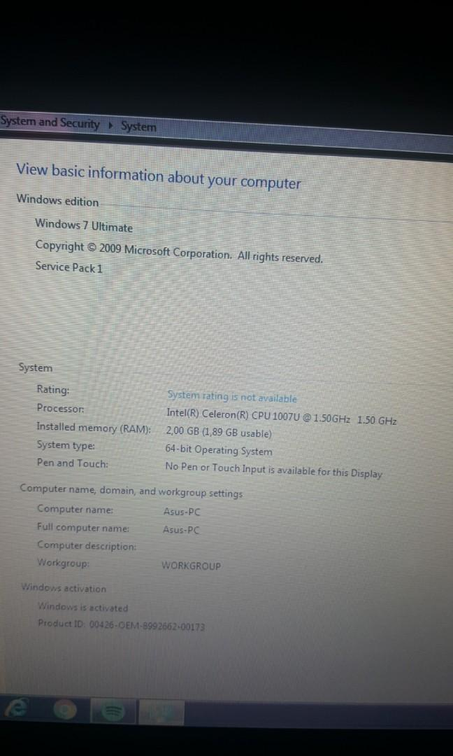 Laptop Asus Slim 11 inch RAM 2GB