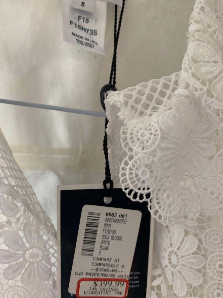 Oscar de la Renta cotton & lace blouse