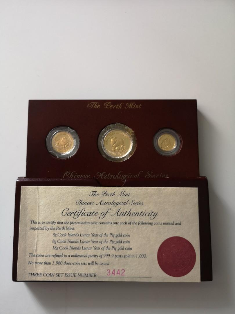 Perth mint Chinese astrological series year of the pig gold coin set 1995