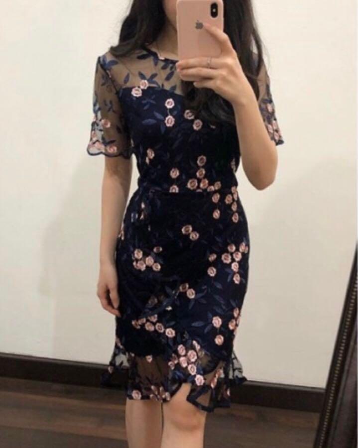 Pink / Navy - New - Lace Floral Midi Dress / Terusan Brukat flower