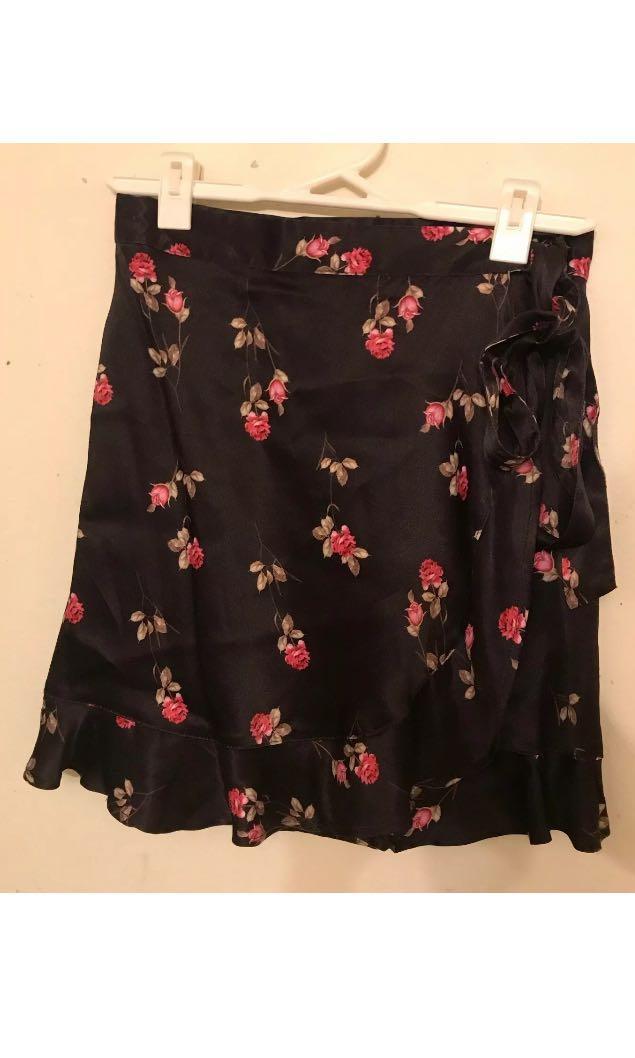 Rat & Boa Bonita Black Flora Silk Wrap Skirt - Size Small - SKIRT ONLY
