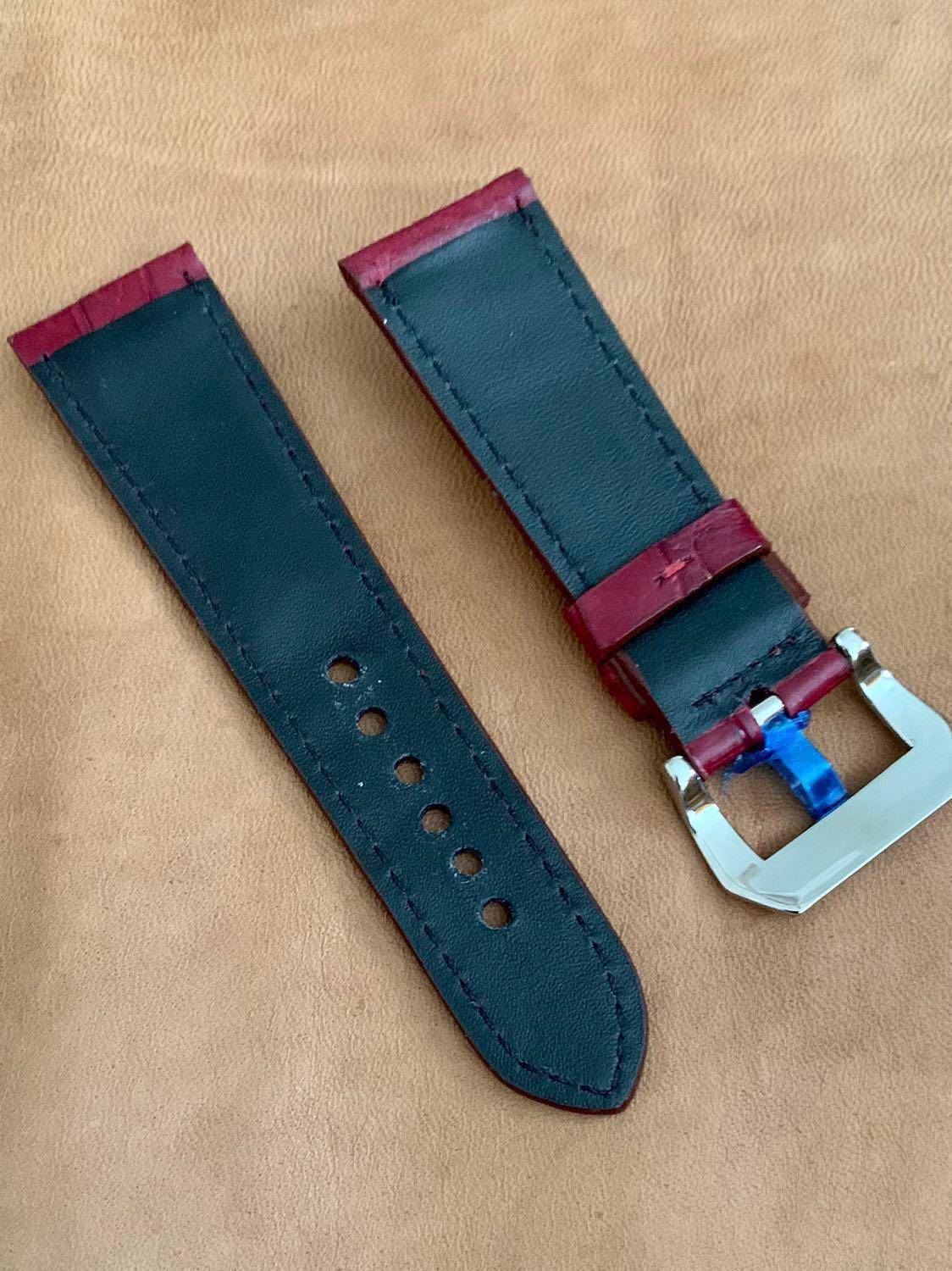 Rich Burgundy Brown Crocodile Alligator Watch Strap 26mm@lug/22mm@buckle #MRTHougang #MRTSerangoon #MRTSengkang #MRTPunggol #MRTRaffles  #MRTBedok #MRTTampines #MRTCCK #MRTJurongEast #MRTYishun