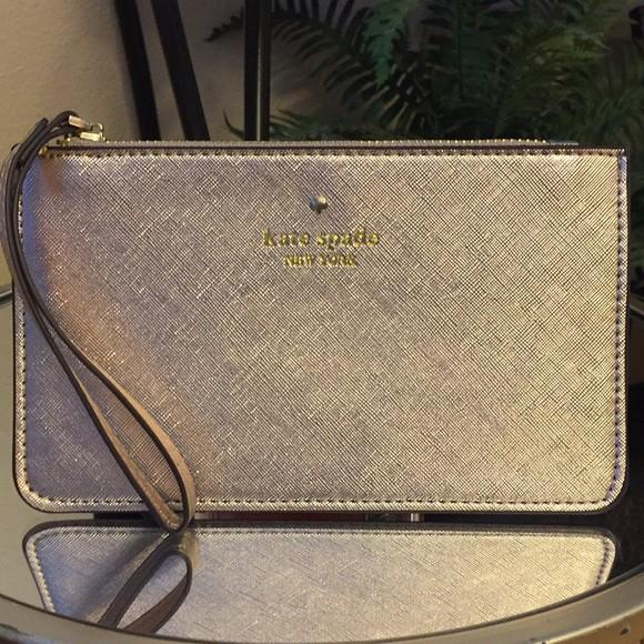 SALE NEW Stock Kate Spade Pouch Wristlet Gold Original