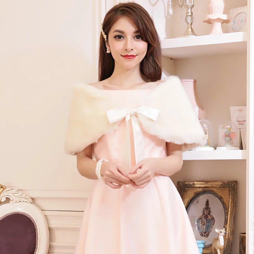 Soft cream fur shawl