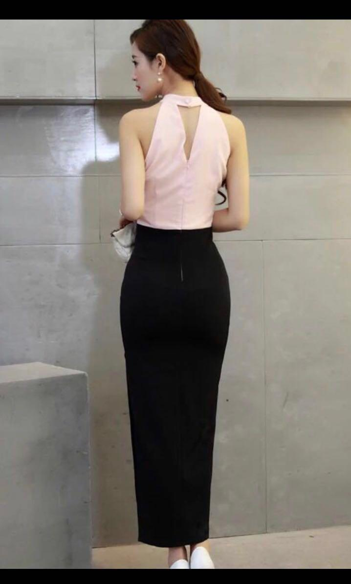 Soft pink black formal evening dress