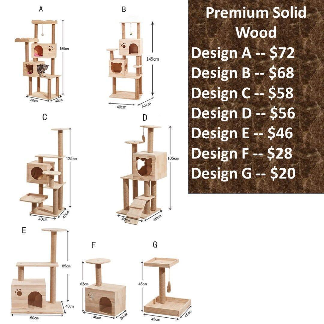 Solid Wood Cat Condo scratch tree post pole, not carrier cage cushion bed food