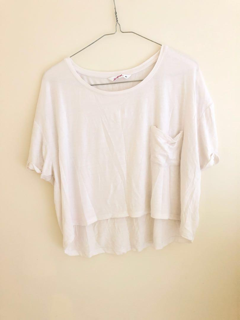 SUPRE Basic white cropped T-shirt