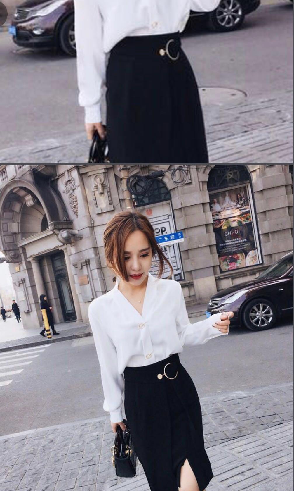 White subtle  V-neck blouse