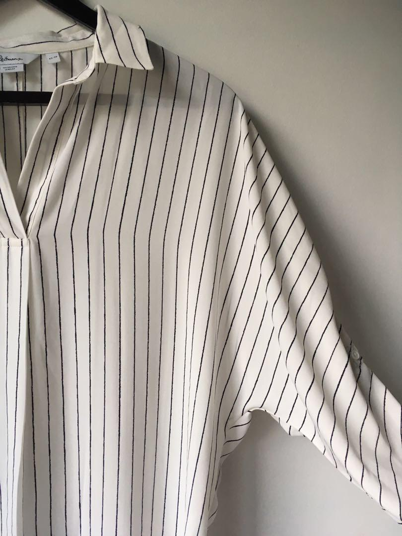 XS Reitmans Relaxed fit white dress shirt or blouse with black stripes and drop shoulders
