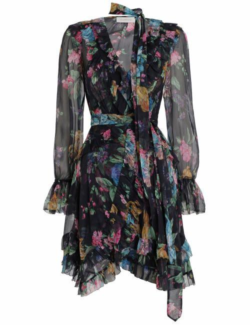 Zimmermann Ninety Six Frill Wrap Dress 100% Silk RRP$795 New with tags