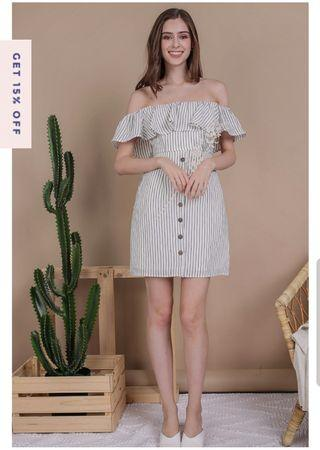 🚚 TTR VIOLA OFF SHOULDER DRESS (WHITE STRIPES)