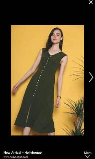 🚚 Hollyhoque Bora Button Down Midi Dress Olive