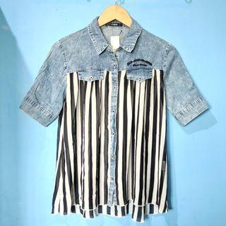 Stripes jeans shirt top HARGA PAS NETT FREEONGKIR WAHANA JABODETABEK