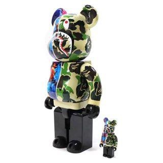 Bape x Mika Ninagawa Bearbrick The Bathing Ape 400% + 100% Green