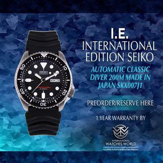 SEIKO INTERNATIONAL EDITION AUTOMATIC CLASSIC DIVER 200M SKX007J1 MADE IN JAPAN
