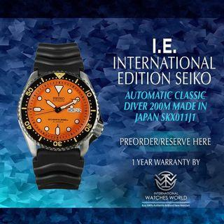 SEIKO INTERNATIONAL EDITION AUTOMATIC MADE IN JAPAN CLASSIC DIVER 200M SKX011J1 ORANGE