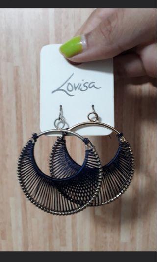 Lovisa Gold Hoop Earrings with Blue Thread Detail
