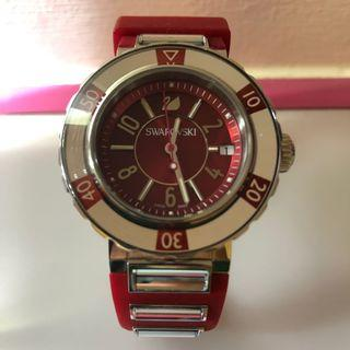 🚚 Swarovski Octea Sport, Red Rubber Strap With 6 Clear Crystals (100% Authentic) Model: 1047344