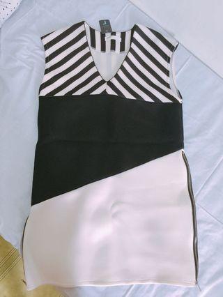 條紋潛水背心洋裝 (太空棉材質)