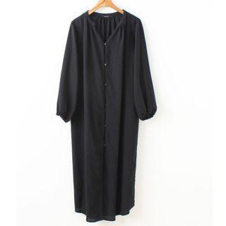 日單2穿文青風 / 黑色單排扣長袖洋裝