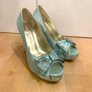 CHRISTY NG Satin High Heels in Turquoise Glitter Diamonds Ribbon