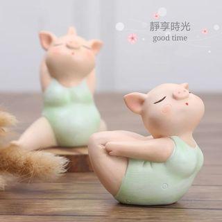瑜珈豬擺飾品(有6種款式) 瑜伽動物擺件簡約家居飾品歐式風格瑜伽館開業禮品樹脂工藝品客廳電視櫃玄關酒櫃裝飾可愛生日