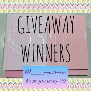 First Giveaway Winners (new winner announced) !!