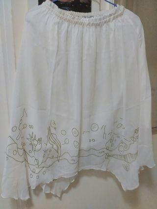 白色雪紡裙,有裡, 全新
