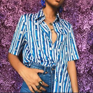 Vintage Blue and White Printed Shirt