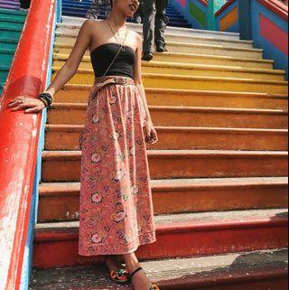 Midi/Maxi Skirt with Elastic Waist