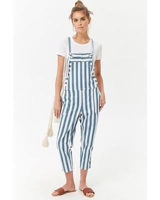Brand New Striped Denim Overalls