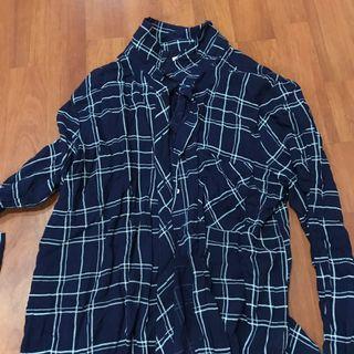 Pull&Bear Blue Checkered Top