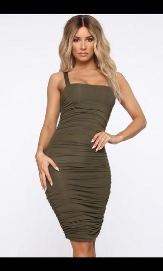 Fashion Nova Ruche ToThe Dance Midi Dress - Olive