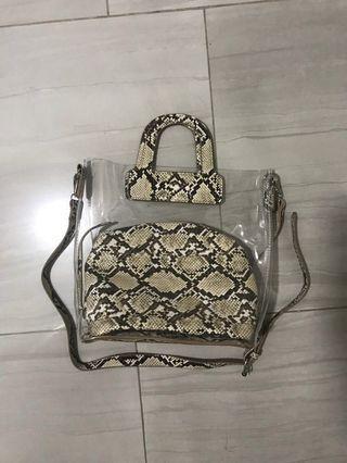 Le diva snake transparent bag