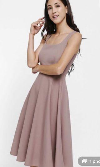 Love Bonito A-Line Midi Dress in Dusty Pink