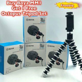 🚚 Buy 1 Boya MM1 Mic, Get 1 Free Octopus Tripod Set, Good on Camera Cellphone YT Vlog, FB
