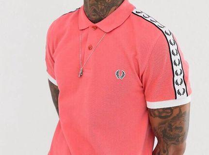 BNWT FRED PERRY TAPED POLO PINK