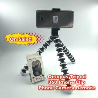 🚚 Octopus Tripod, 360 Phone Clip with Bluetooth Remote for Selfie Vloging Youtube Facebook,on Sale now